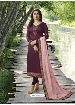 Purple Embroidered Satin Georgette Designer Churidar Suit