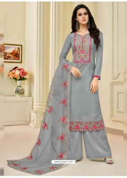 Grey Pure Upada Silk Embroidered Palazzo Suit