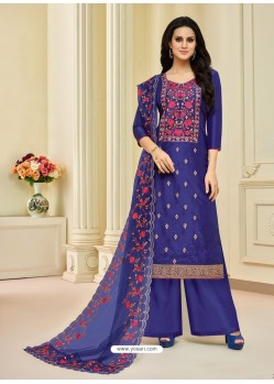 Dark Blue Pure Upada Silk Embroidered Palazzo Suit