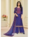 Dark Blue Pure Upada Silk Embroidered Palazzo Suit