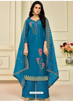 Teal Blue Pure Upada Silk Embroidered Palazzo Suit