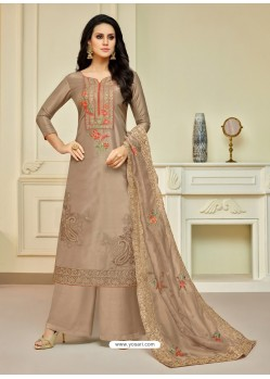Beige Pure Upada Silk Embroidered Palazzo Suit