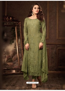 Mehendi Georgette Zari Embroidered Designer Straight Suit
