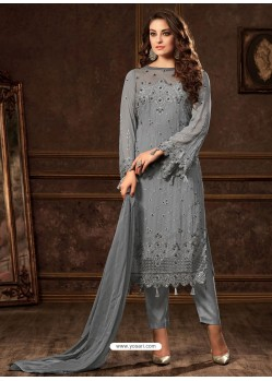 Grey Georgette Zari Embroidered Designer Straight Suit