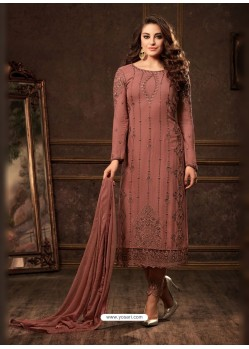 Rust Georgette Zari Embroidered Designer Straight Suit