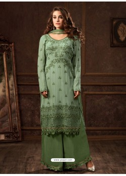 Green Georgette Zari Embroidered Designer Straight Suit