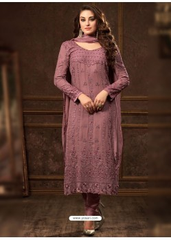 Medium Violet Georgette Zari Embroidered Designer Straight Suit