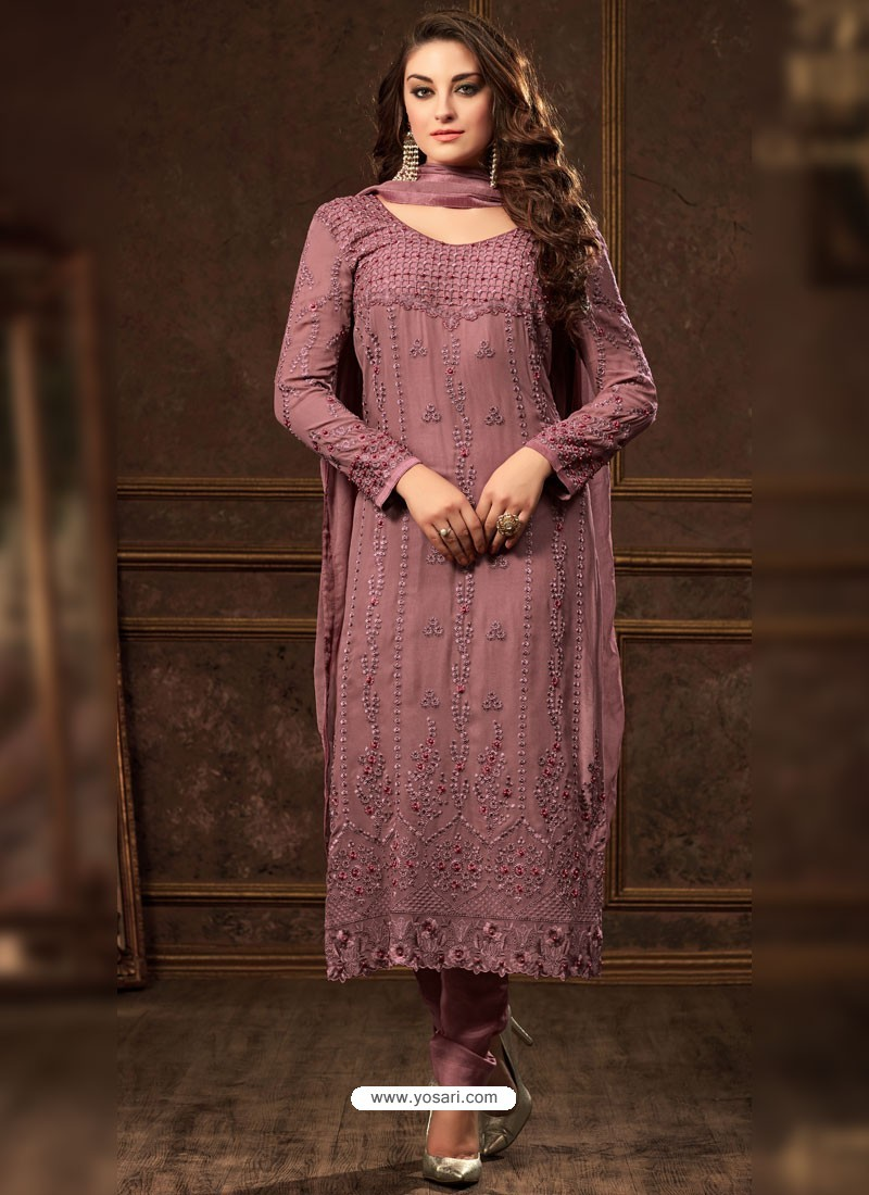 Medium Violet Georgette Zari Embroidered Designer Straight Suit