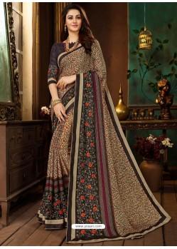 Light Brown Rangoli Georgette Printed Casual Wear Saree
