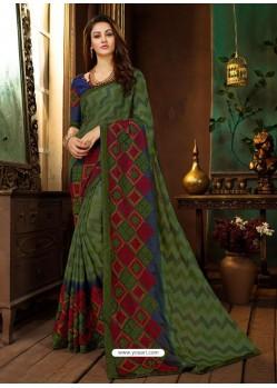 Mehendi Rangoli Georgette Printed Casual Wear Saree