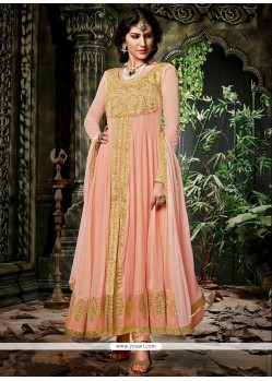 Pleasant Peach Georgette Designer Anarkali Suit