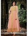 Pleasant Peach Georgette Designer Anarkali Suit