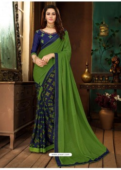 Forest Green Rangoli Georgette Printed Casual Wear Saree