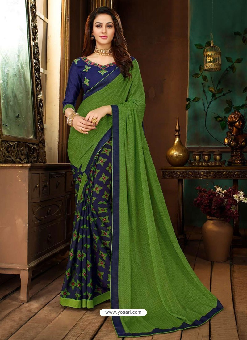 73116f1669 Buy Forest Green Rangoli Georgette Printed Casual Wear Saree ...