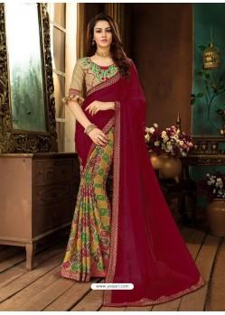 Maroon And Multi Rangoli Georgette Printed Casual Wear Saree