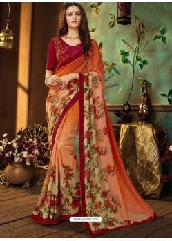 Orange Rangoli Georgette Printed Casual Wear Saree