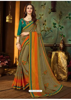 Olive Green Rangoli Georgette Printed Casual Wear Saree