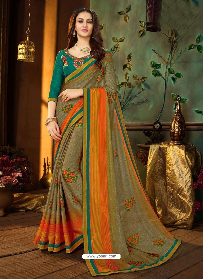 Olive Green Rangoli Georgette Printed Casual Wear Saree