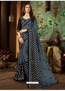 Grey Rangoli Georgette Printed Casual Wear Saree