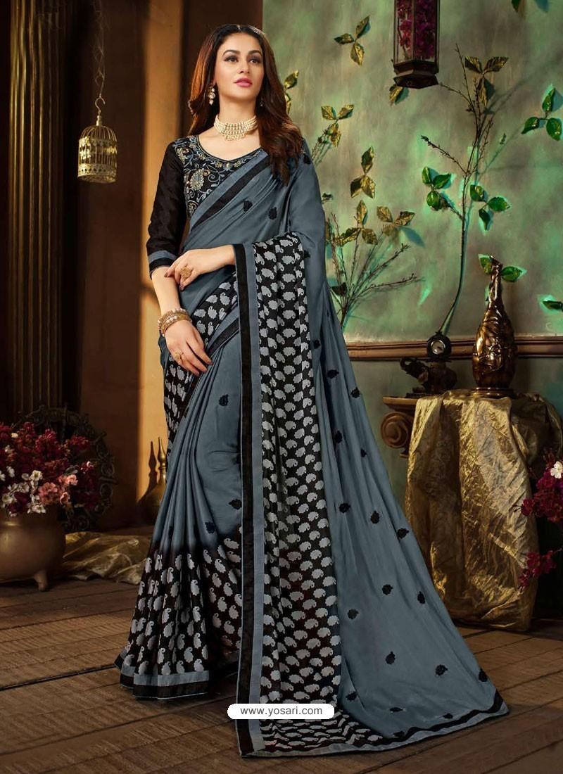 Grey Rangoli Georgette Printed Casual Wear Saree
