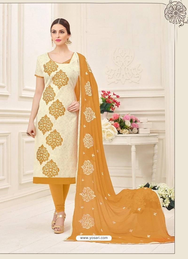 Cream And Brown Cotton Jacquard Churidar Suit