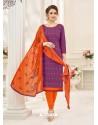 Purple Cotton Jacquard Churidar Suit