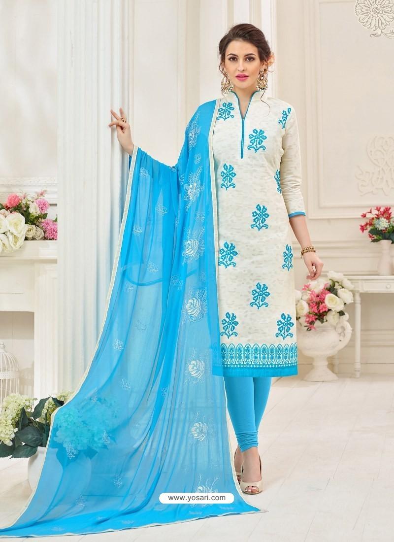 White And Sky Blue Cotton Jacquard Churidar Suit