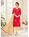 Red And Cream Cotton Jacquard Churidar Suit
