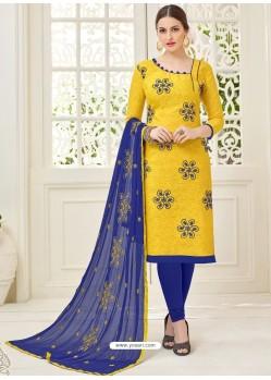 Yellow And Navy Cotton Jacquard Churidar Suit