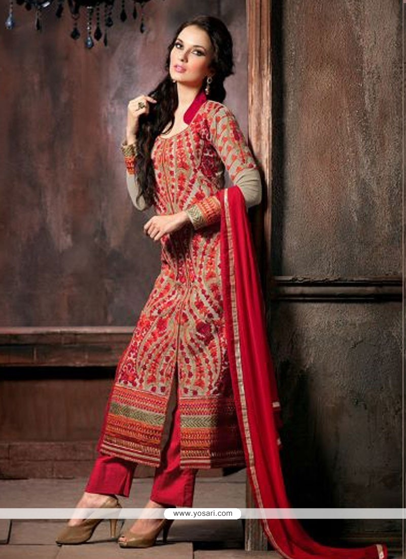 Exquisite Grey Resham Work Pant Style Suit