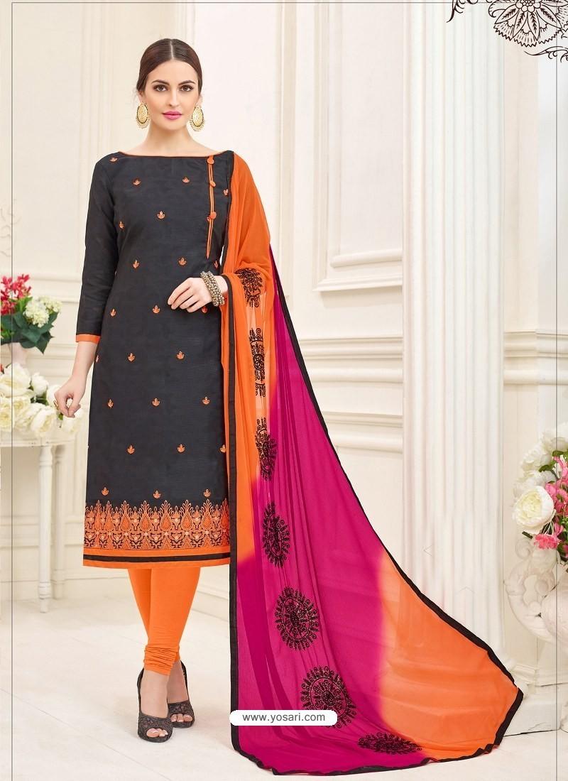Black And Orange Cotton Jacquard Churidar Suit