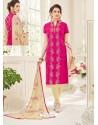 Fuchsia And Light Beige Cotton Jacquard Churidar Suit