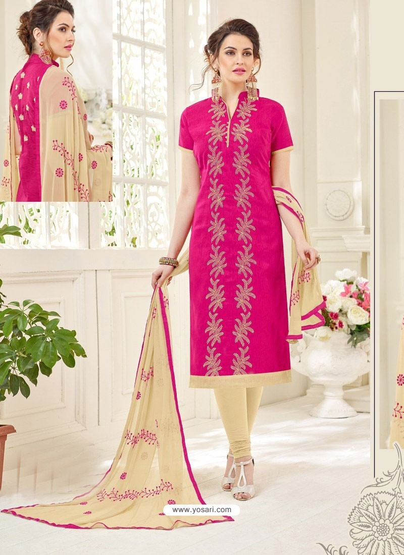 6c19027e32 Buy Fuchsia And Light Beige Cotton Jacquard Churidar Suit | Churidar ...