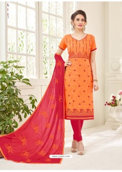 Orange And Red Cotton Jacquard Churidar Suit