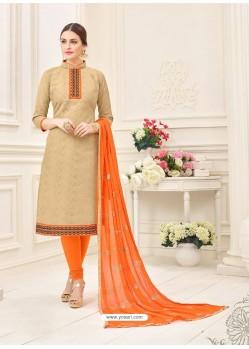 Beige And Orange Cotton Jacquard Churidar Suit
