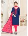Navy Blue And Fuchsia Cotton Jacquard Churidar Suit