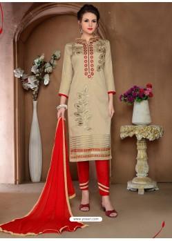 Beige Glaze Cotton Designer Straight Suit