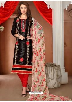 Black Glaze Cotton Designer Straight Suit