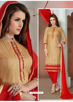 Golden Glaze Cotton Designer Straight Suit
