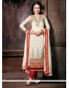 Pleasant White Georgette Churidar Suit