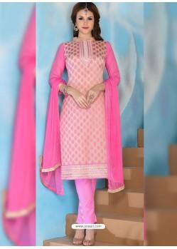 Pink Glaze Cotton Designer Straight Suit