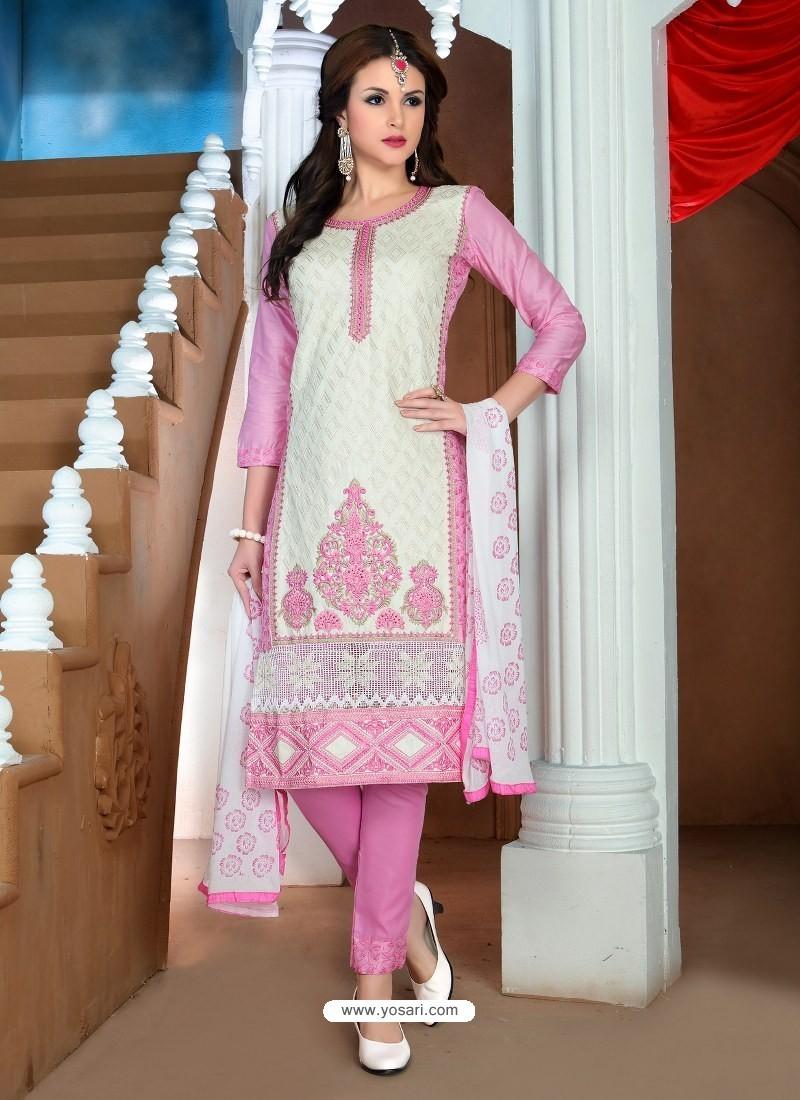 White And Pink Glaze Cotton Designer Straight Suit