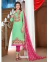 Jade Green Glaze Cotton Designer Straight Suit