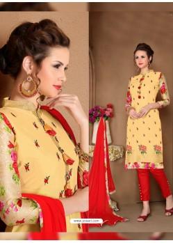 Yellow Glaze Cotton Designer Straight Suit