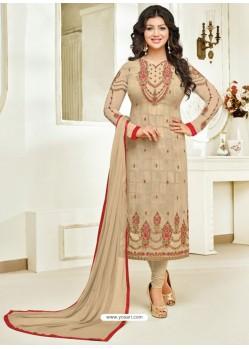 Beige Faux Georgette Stone Embroidered Designer Churidar Suit