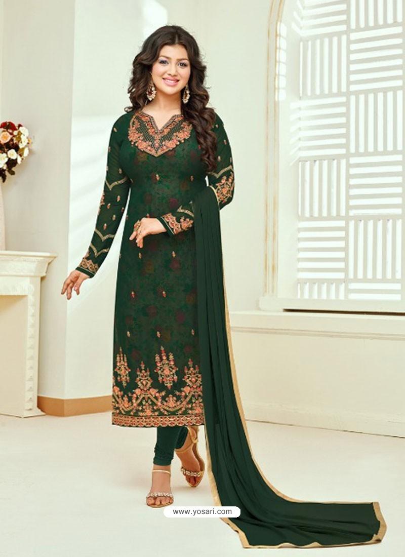 Dark Green Faux Georgette Stone Embroidered Designer Churidar Suit