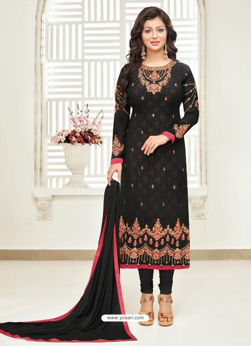 Black Faux Georgette Stone Embroidered Designer Churidar Suit