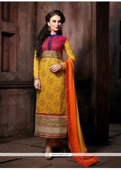 Gambling Yellow Georgette Churidar Suit