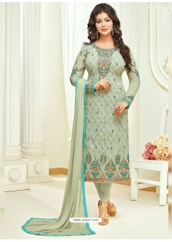 Olive Green Faux Georgette Stone Embroidered Designer Churidar Suit
