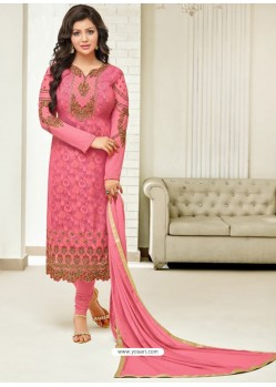 Hot Pink Faux Georgette Stone Embroidered Designer Churidar Suit
